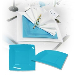 Assiette design jetable petite turquoise 18 cm