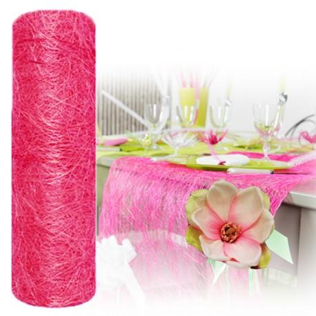 Chemin de table abaca rose fuchsia