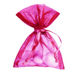 10 bourses à dragées rose fuchsia