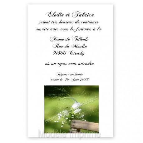 Invitation repas nature fleurs