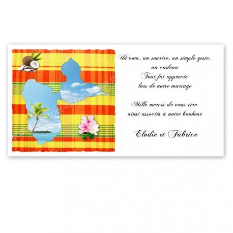 Carton remerciement madras jaune guadeloupe imprimé