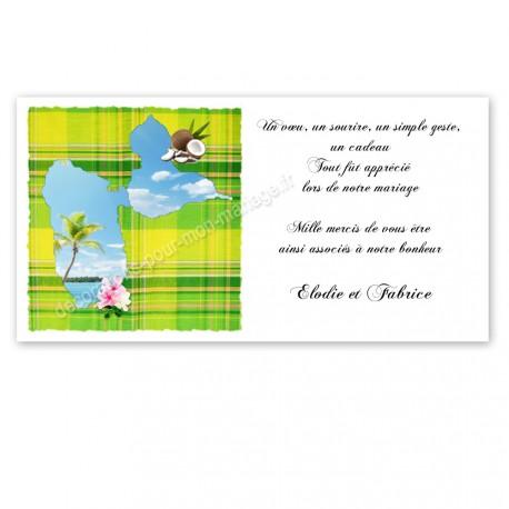 Carton remerciement madras vert anis guadeloupe imprimé