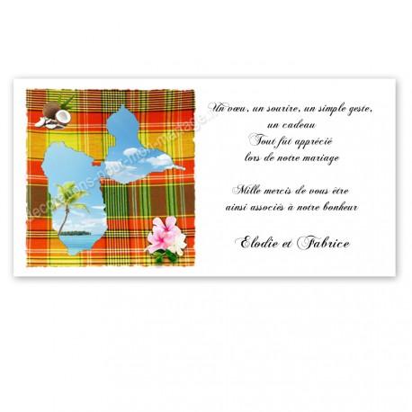 Carton remerciement madras rouge vert guadeloupe imprimé