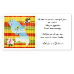Carton remerciement martinique madras jaune rouge
