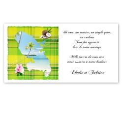 Carton remerciement martinique madras vert anis