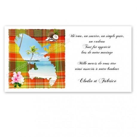 Carton remerciement martinique madras rouge vert