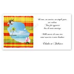 Carton remerciement réunion madras jaune rouge