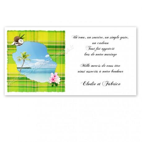 Carton remerciement réunion madras vert anis