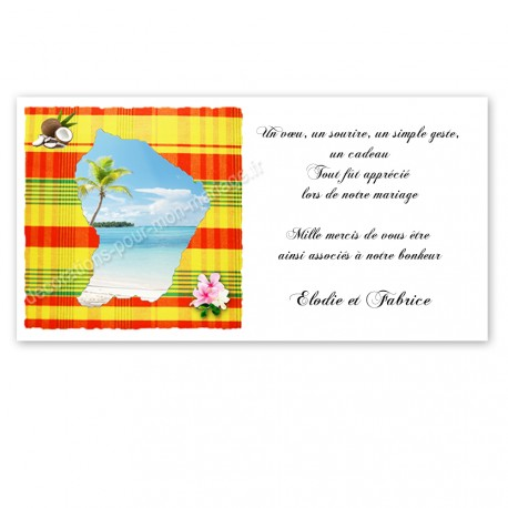 Carton remerciement guyane Jaune madras