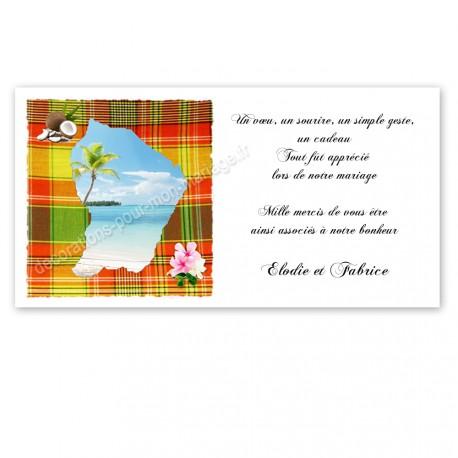 Carton remerciement guyane madras rouge vert