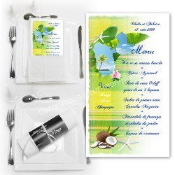 Menu serviette Guadeloupe madras vert anis