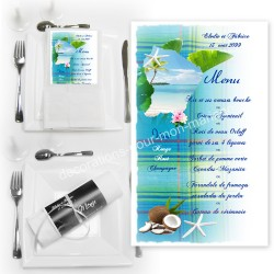 Menu serviette Guyane madras bleu turquoise