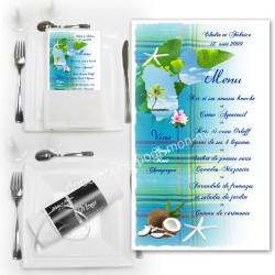 Menu serviette guadeloupe madras bleu turquoise
