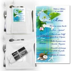 Menu serviette Martinique madras bleu turquoise