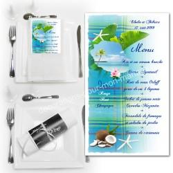 Menu serviette Réunion madras bleu turquoise