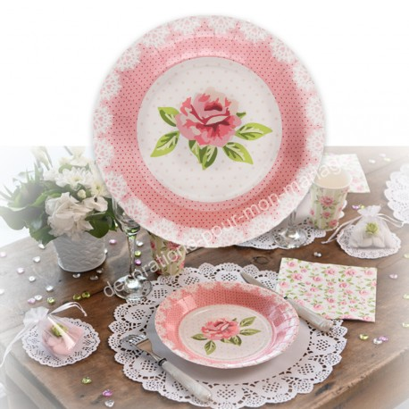 10 assiettes jetables shabby