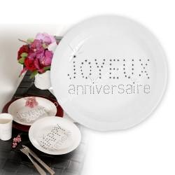 10 assiettes anniversaire blanches
