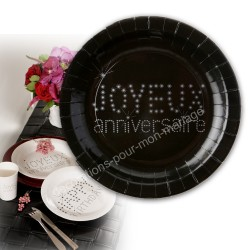 10 assiettes anniversaire noires