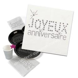 20 serviettes anniversaire blanches