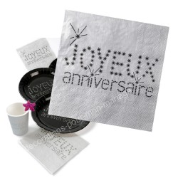 20 serviettes anniversaire grises
