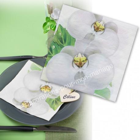 20 serviettes orchidées