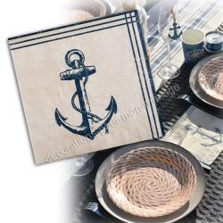 20 serviettes ancre marine