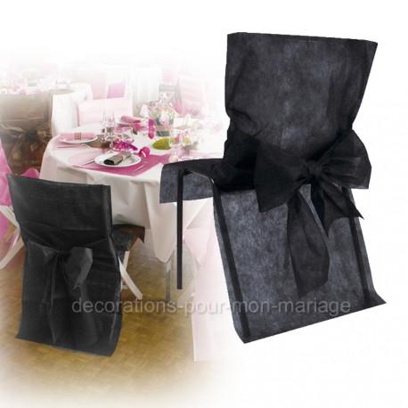 Housse + noeud de chaise noirs