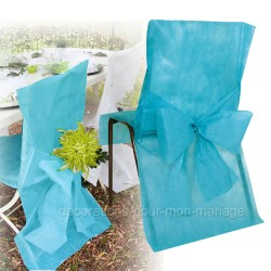 Housse + noeud de chaise turquoise