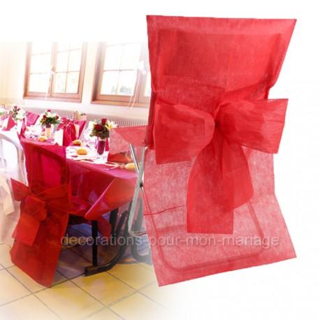Housse + noeud de chaise rouge