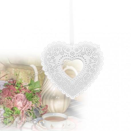 Coeur à suspendre blanc