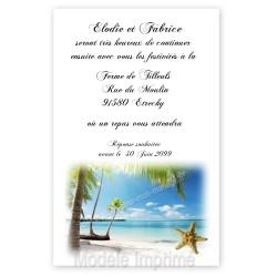 Invitation repas plage exotique