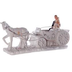 Figurine mariage dans carrose et cheval blanc