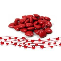 Dragées petits coeurs rouge