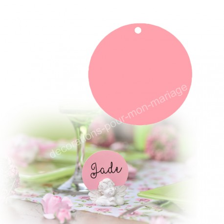 10 porte-noms rond rose