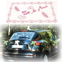 Déco voiture mariés fuchsia
