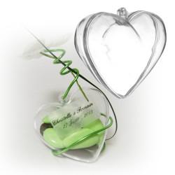 Contenant dragées coeur transparent