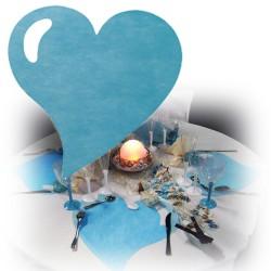 Set de table coeur bleu turquoise