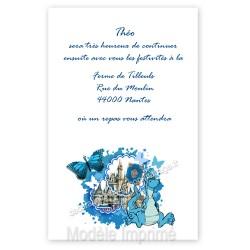 Invitation repas baptême dragon bleu
