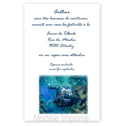 Invitation repas thème plongée sous-marine
