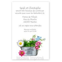 Invitation thème fleurs et jardin
