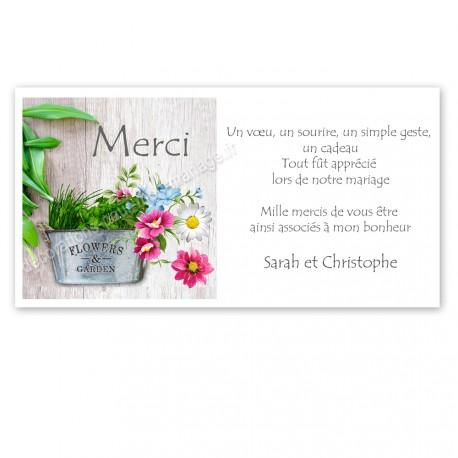 remerciement thème fleurs et jardin