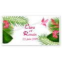 Faire-part long feuilles tropicales