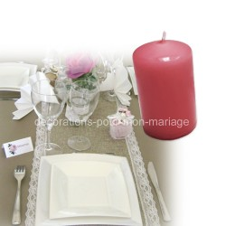 Bougie cylindre petite rose