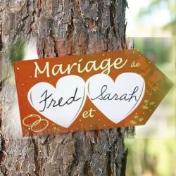 Pancarte flèche coeur mariage