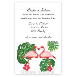 Invitation repas mariage flamant rose