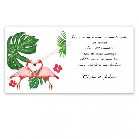 Remerciement mariage flamant rose