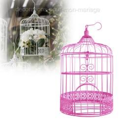Urne tirelire cage fuchsia