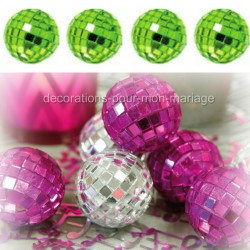 4 mini boules à facettes anis