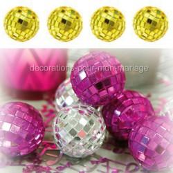 4 mini boules à facettes or