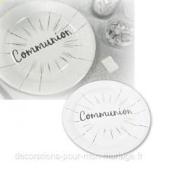 6 assiettes communion 18 cm argent